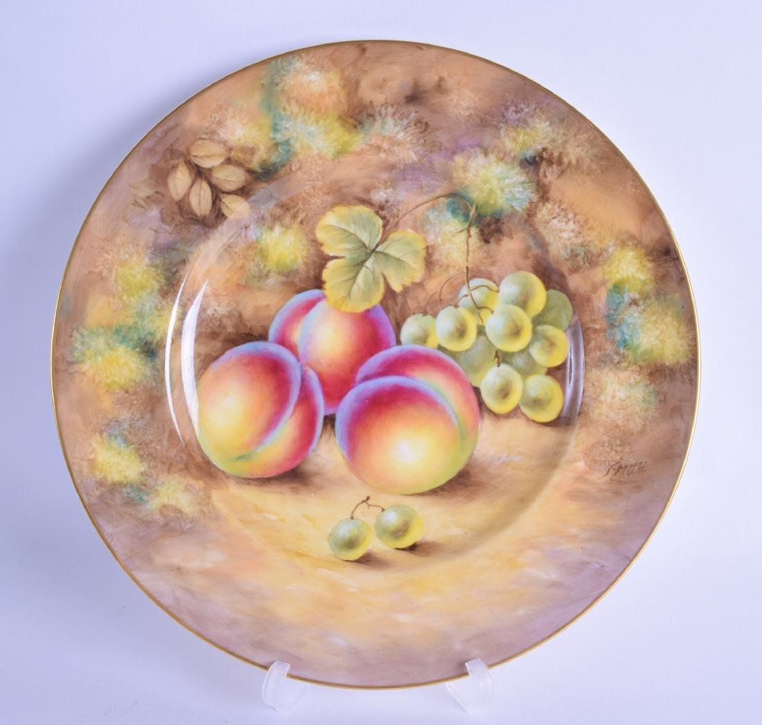 20th c Royal Worcester plate painted with fruit signed