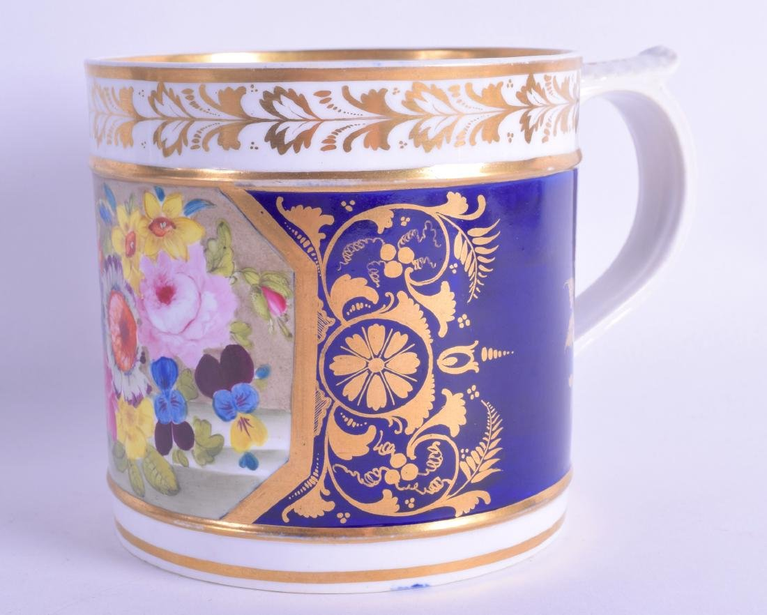 Early 19th c. Derby fine porter mug with blue and gilt