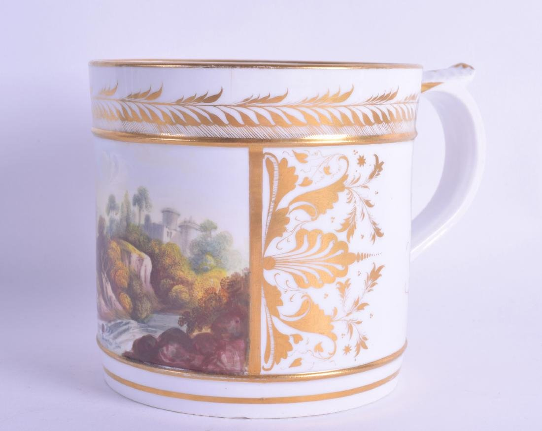 Early 19th c. Derby fine porter mug with white and gilt