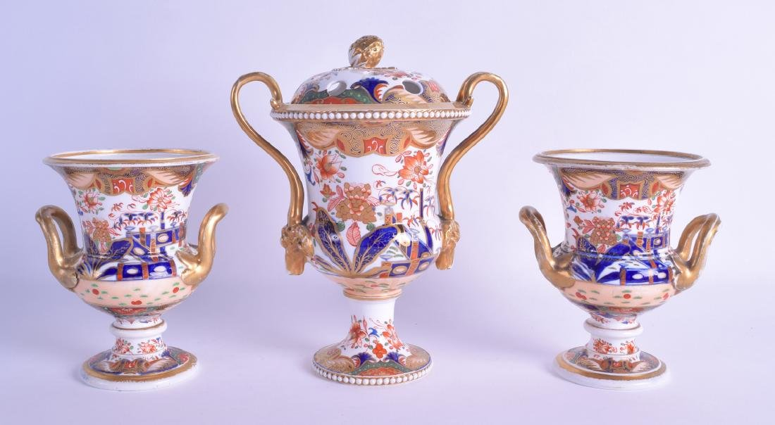 Early 19th c. Spode garniture of vases, the larger vase