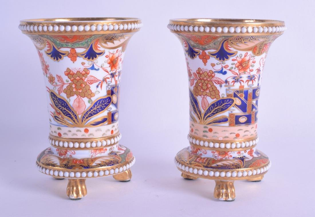 Early 19th c. Spode near pair of spill vases with four
