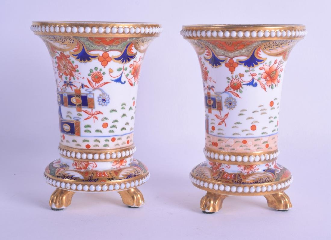 Early 19th c. Spode near pair of spill vases with four - 2
