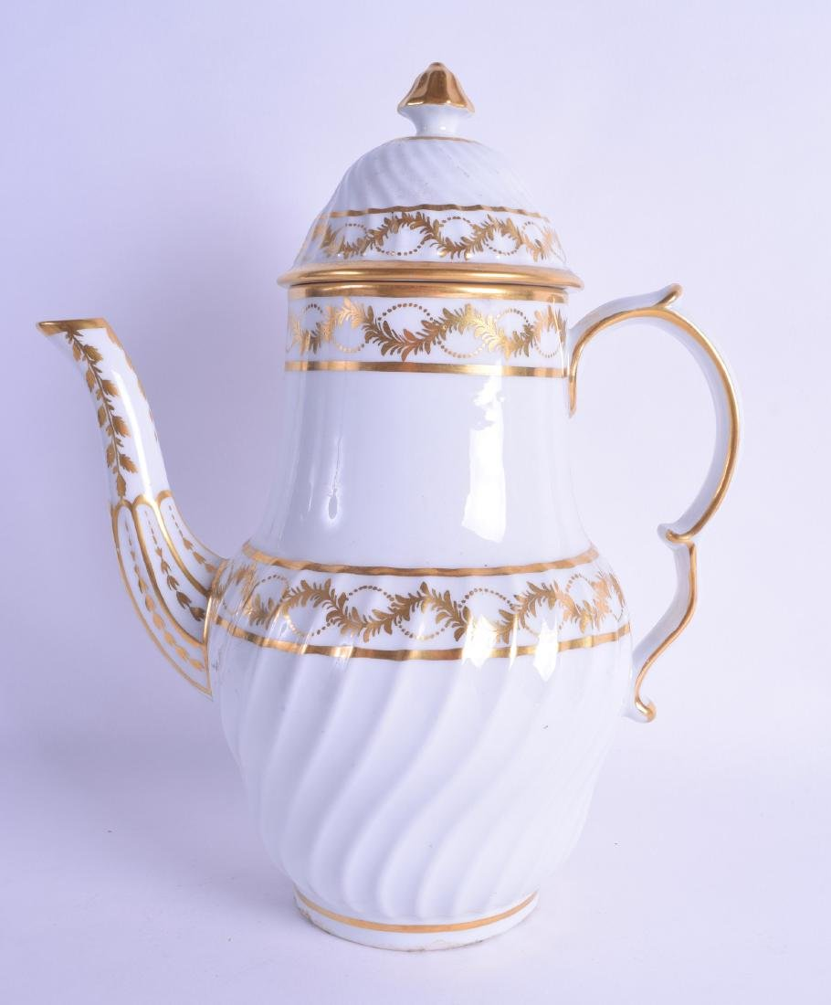 Early 19th c. Coalport rare shaped coffee pot and cover