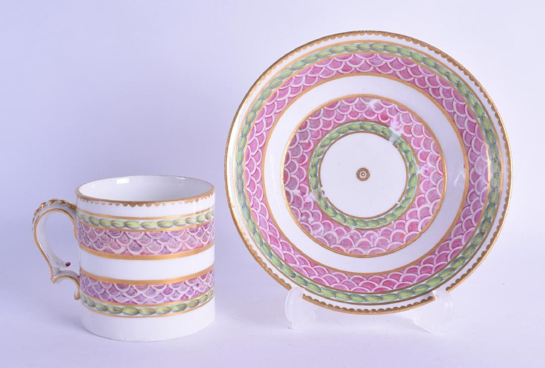 18th c Bristol rare pink scale coffee can and saucer