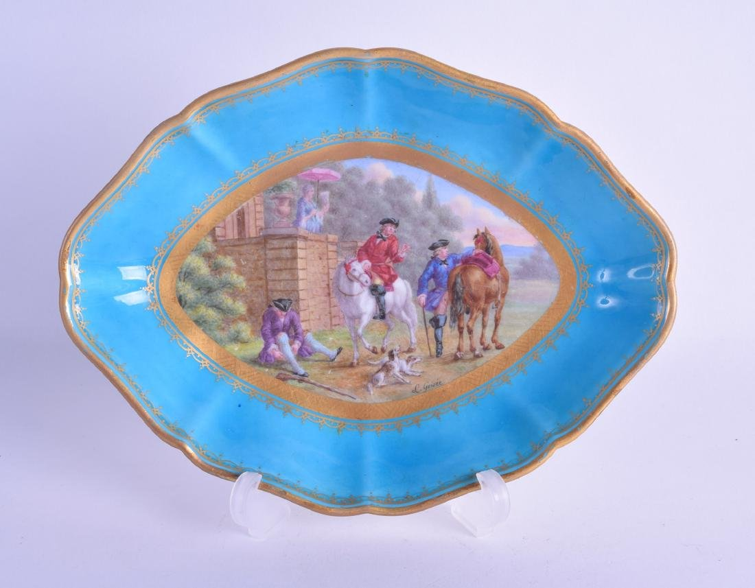 19th c. Sevres oval shaped dish painted with a hunt