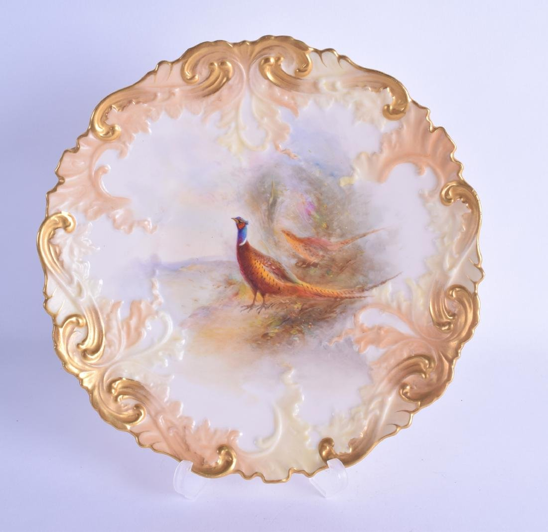 Royal Worcester moulded plate painted with a brace of