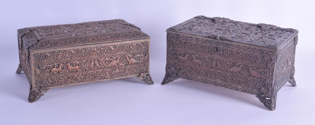 A PAIR OF 19TH CENTURY FRENCH COPPER AND STEEL CASKETS