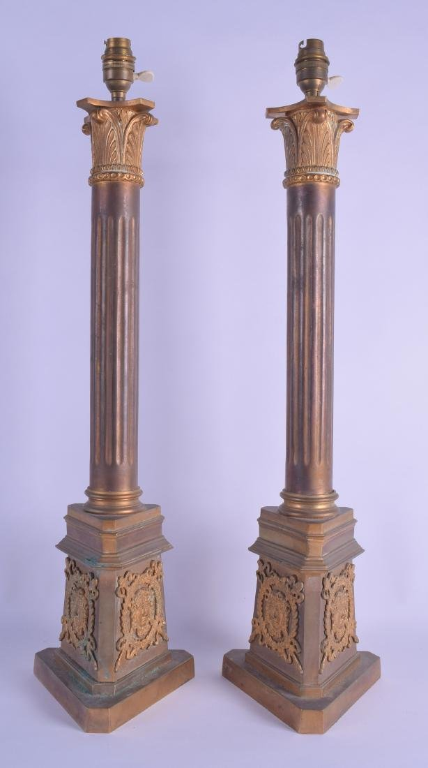 A GOOD LARGE PAIR OF 19TH CENTURY FRENCH BRONZE