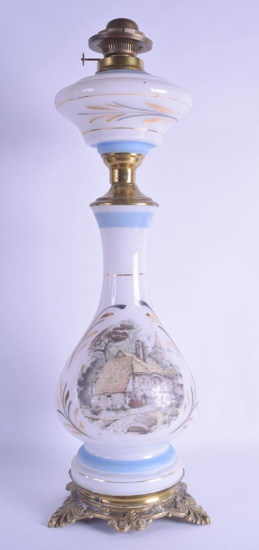 A LATE 19TH CENTURY CONTINENTAL OPALINE GLASS OIL LAMP