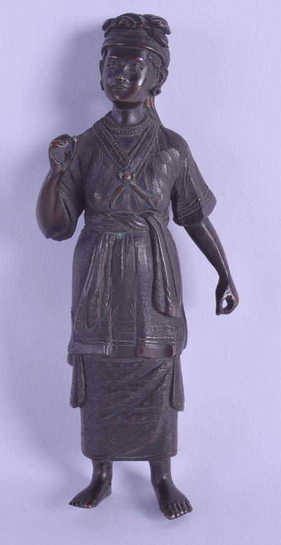A 19TH CENTURY SOUTH EAST ASIAN BRONZE FIGURE OF A