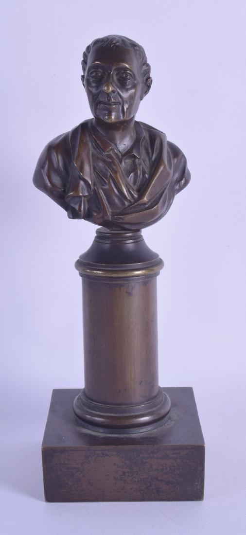 A 19TH CENTURY EUROPEAN BRONZE BUST OF A MALE modelled