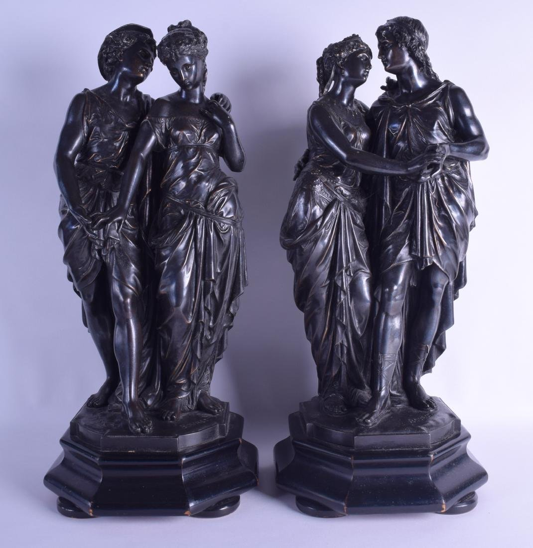 A PAIR OF 19TH CENTURY FRENCH SPELTER FIGURES OF A MALE