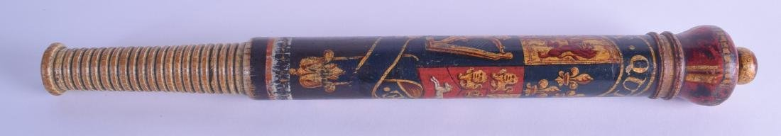 AN EARLY 19TH CENTURY GEORGE IV PAINTED TRUNCHEON