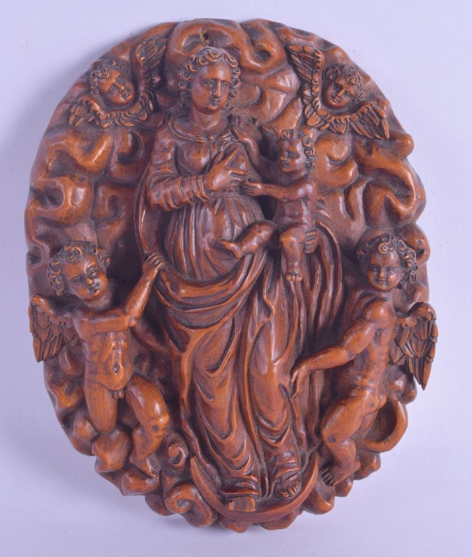 A GOOD 17TH CENTURY FLEMISH CARVED FRUIT WOOD