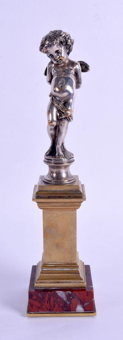 A 19TH CENTURY FRENCH SILVERED BRONZE FIGURAL COLUMN