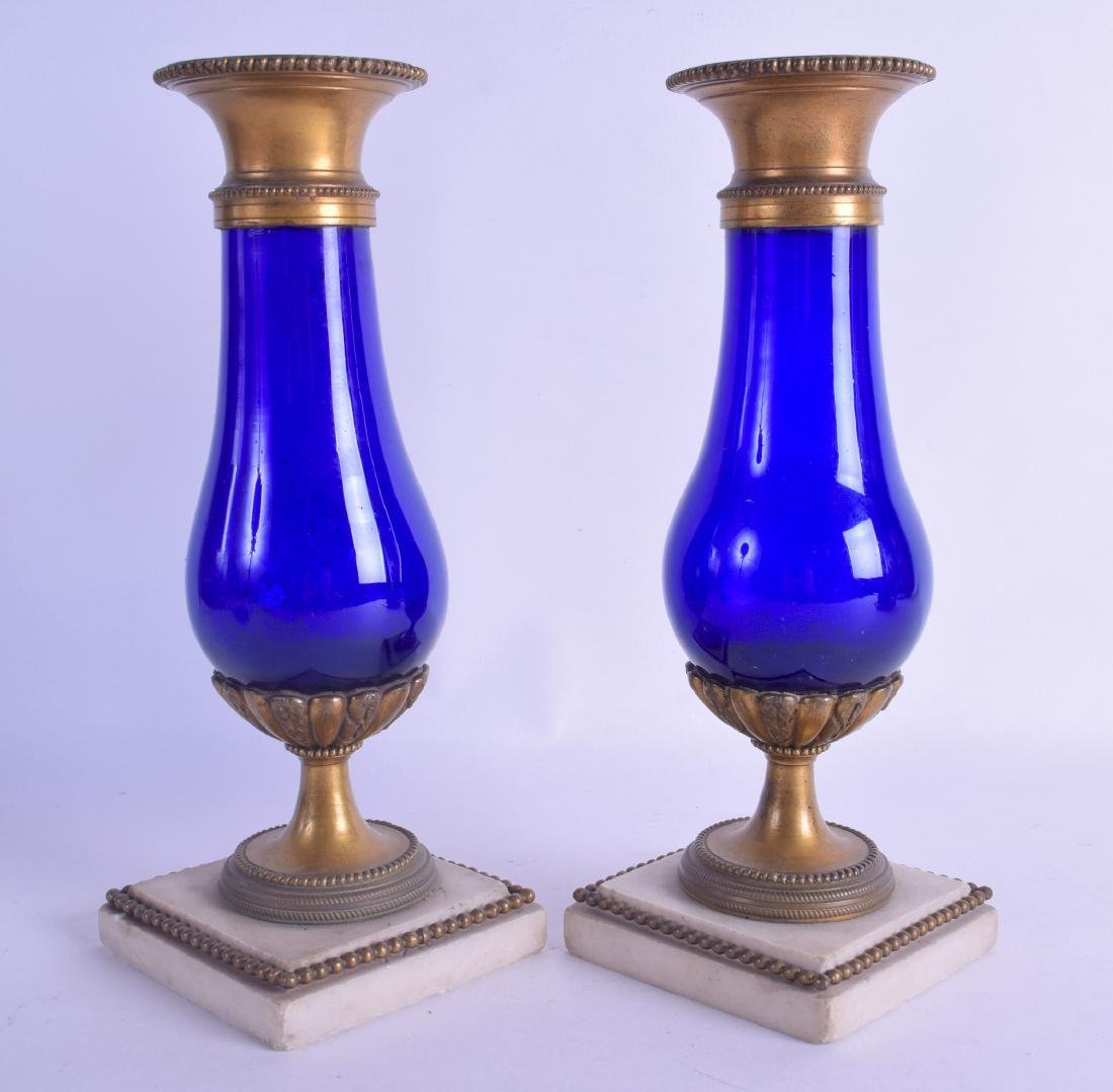 A GOOD PAIR OF 19TH CENTURY FRENCH ORMOLU AND BLUE