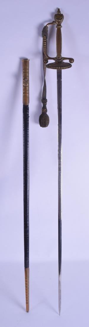 AN EDWARD VII COURT SWORD with brass mounts. 95 cm
