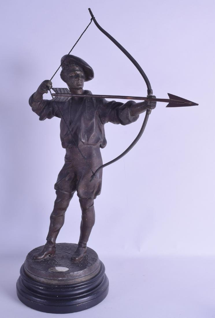 A LARGE 19TH CENTURY FRENCH SPELTER FIGURE OF AN ARCHER