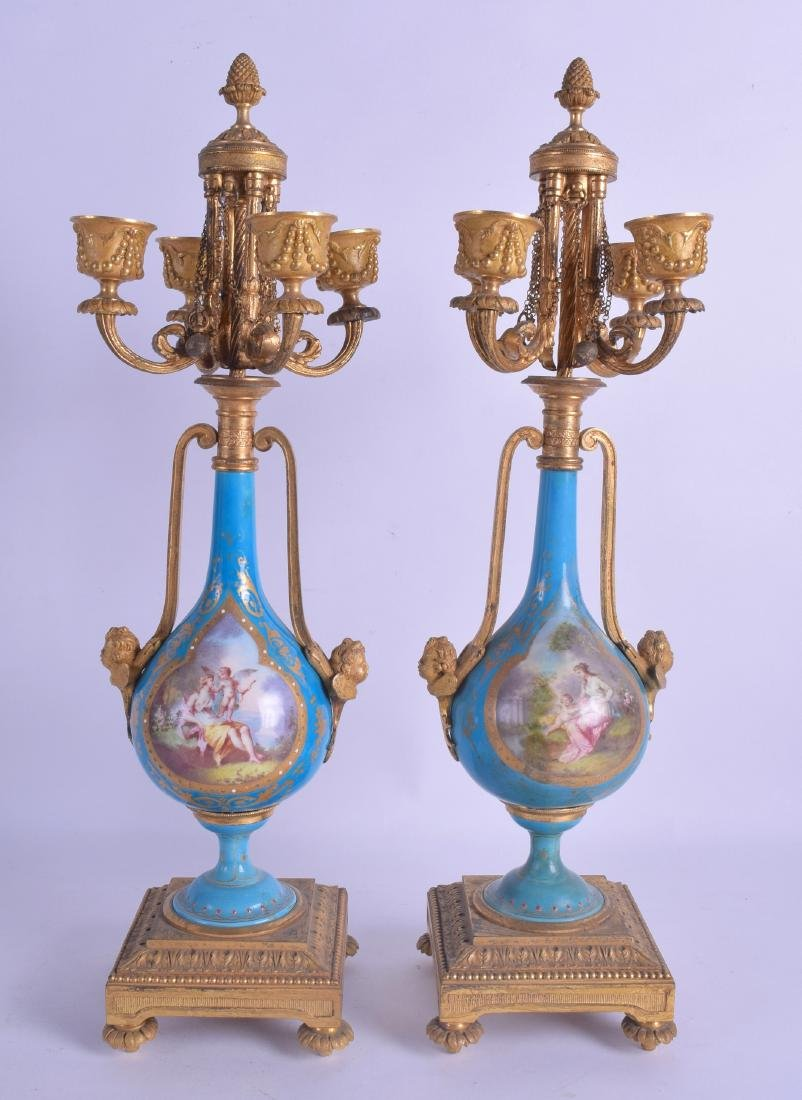 A FINE PAIR OF 19TH CENTURY SEVRES PORCELAIN AND ORMOLU