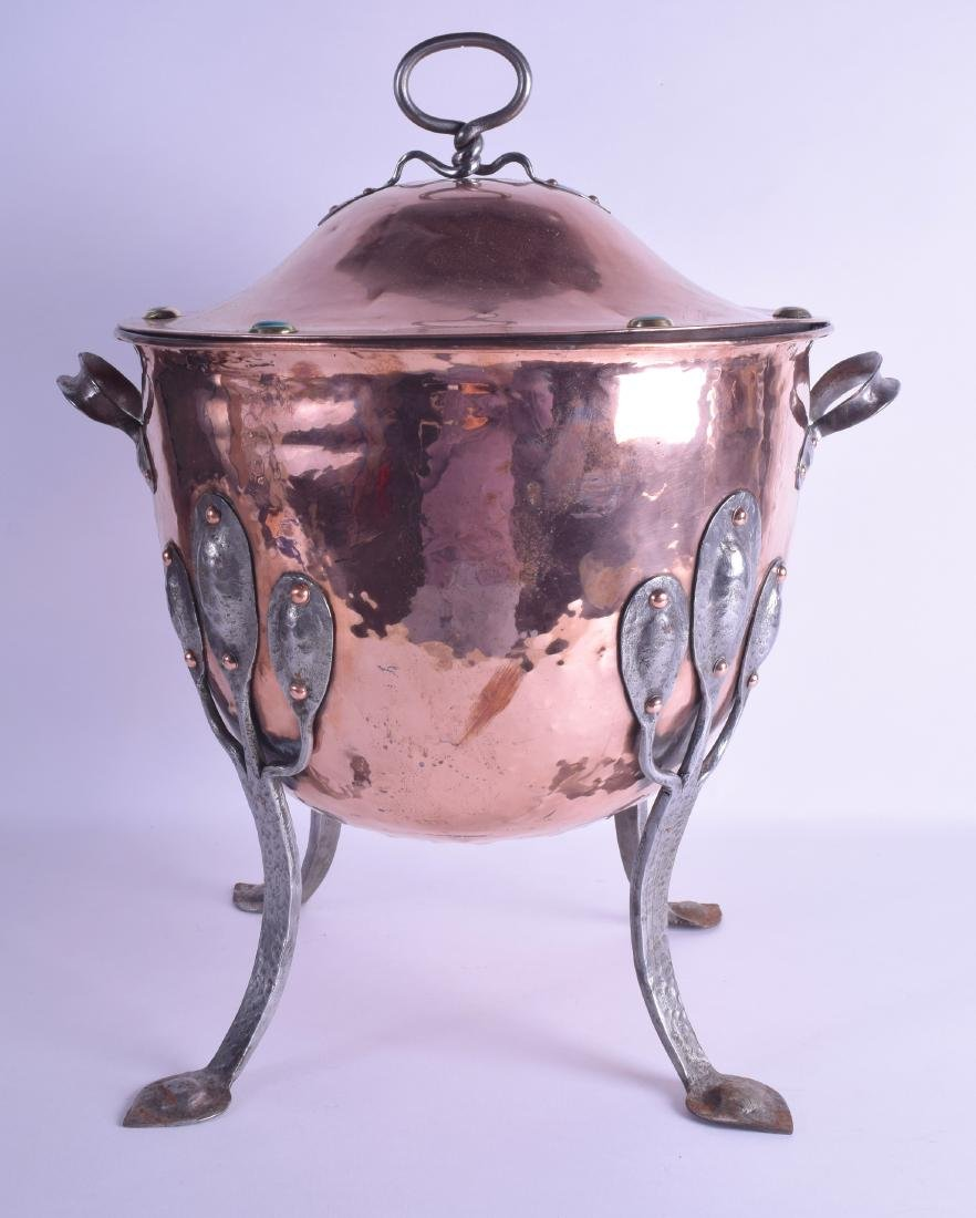 A LARGE STYLISH ART NOUVEAU COPPER AND STEEL COAL