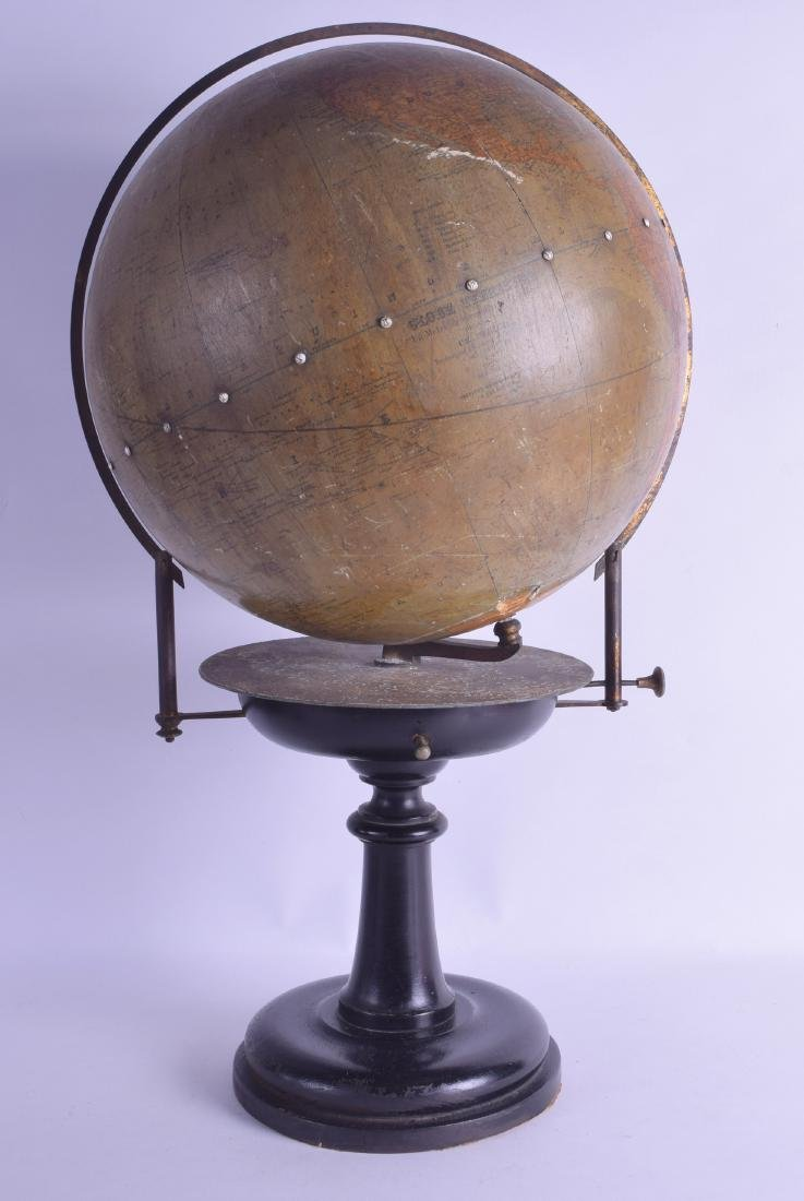 A RARE AND UNUSUAL ANTIQUE GLOBE TERRESTRE GLOBE by
