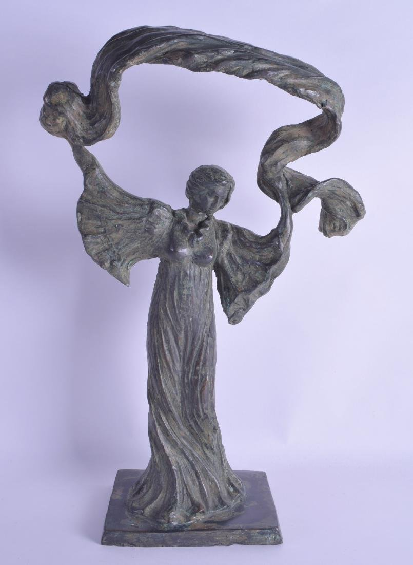 A STYLISH EUROPEAN ART NOVEAU BRONZE FIGURE OF A FEMALE