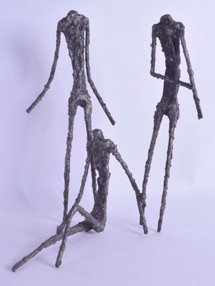 AN UNUSUAL ABSTRACT BRONZE FIGURE OF THREE STYLISED