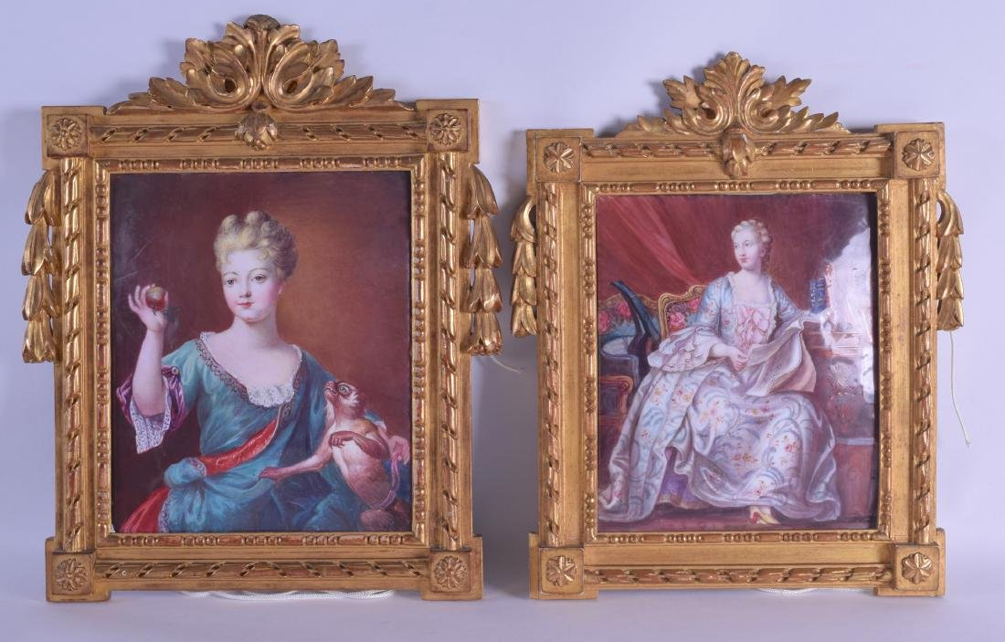 A FINE PAIR OF EARLY 19TH CENTURY CONTINENTAL PAINTED