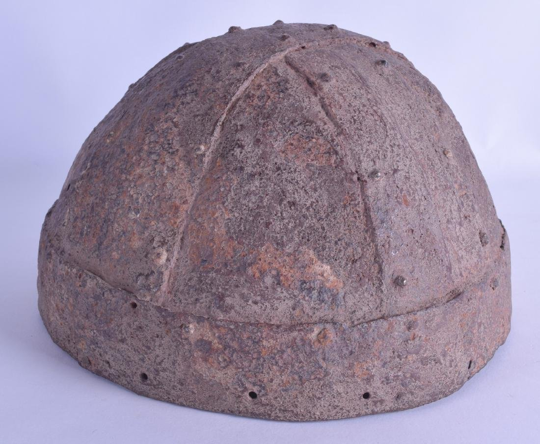 A GOOD RARE VIKING HELMET of domed form with strap work