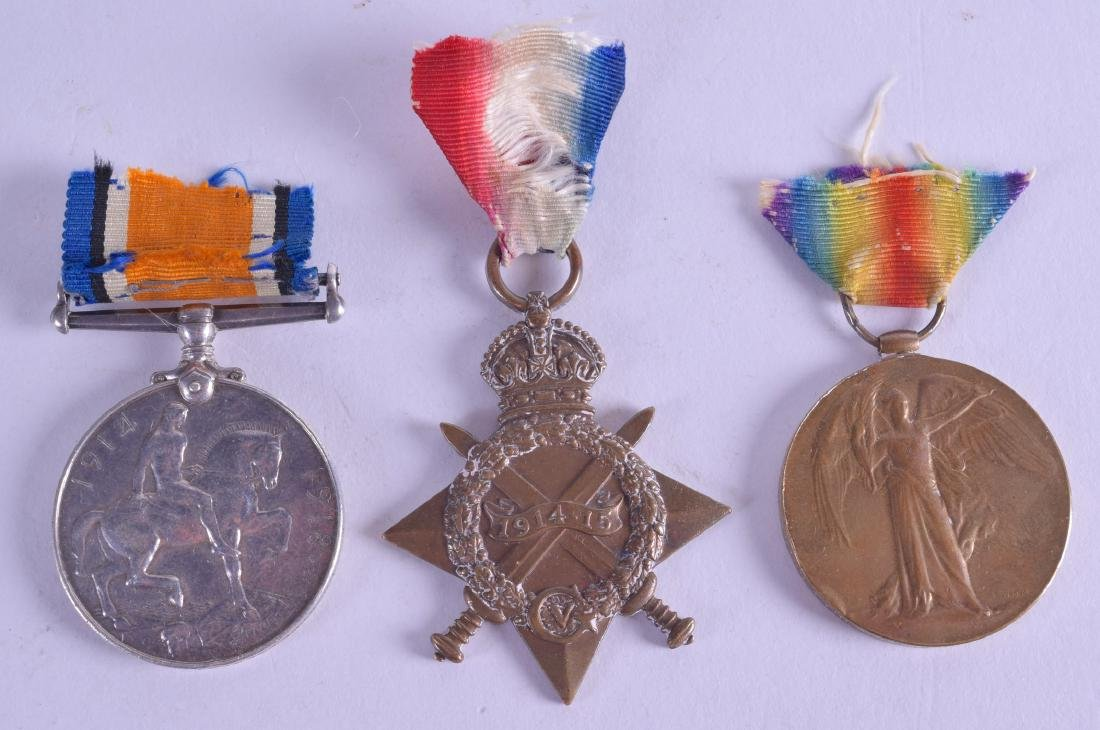 A SET OF THREE WWI MEDALS presented to K1560 F Headford