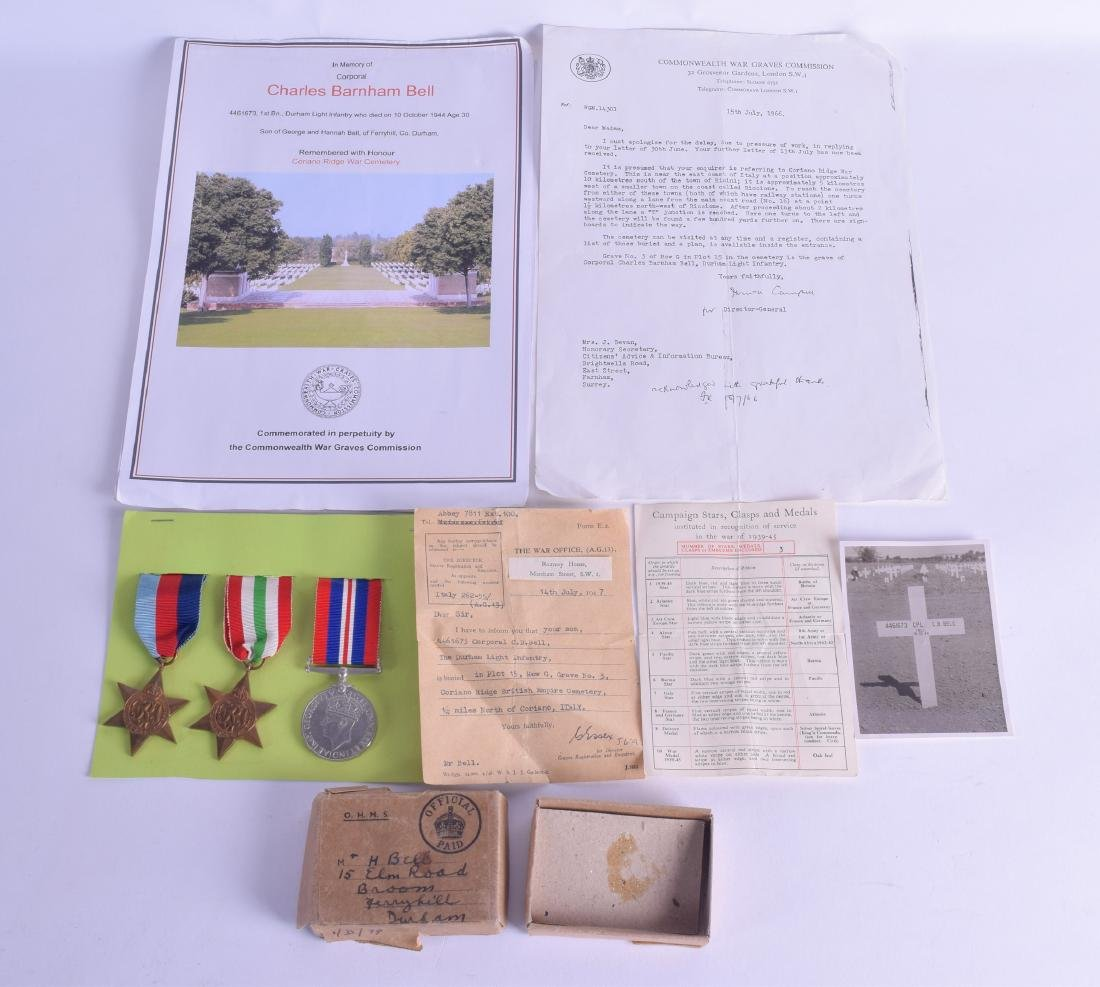 A GROUP OF KIA WWII MEDALS with various ephemera. (qty)