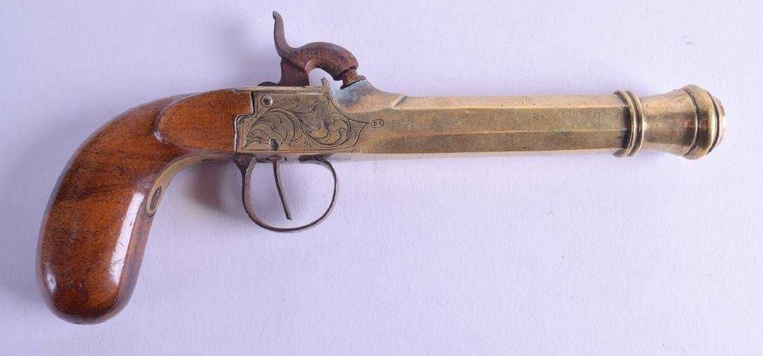 AN ANTIQUE FLINTLOCK PISTOL stamped DS, with engraved