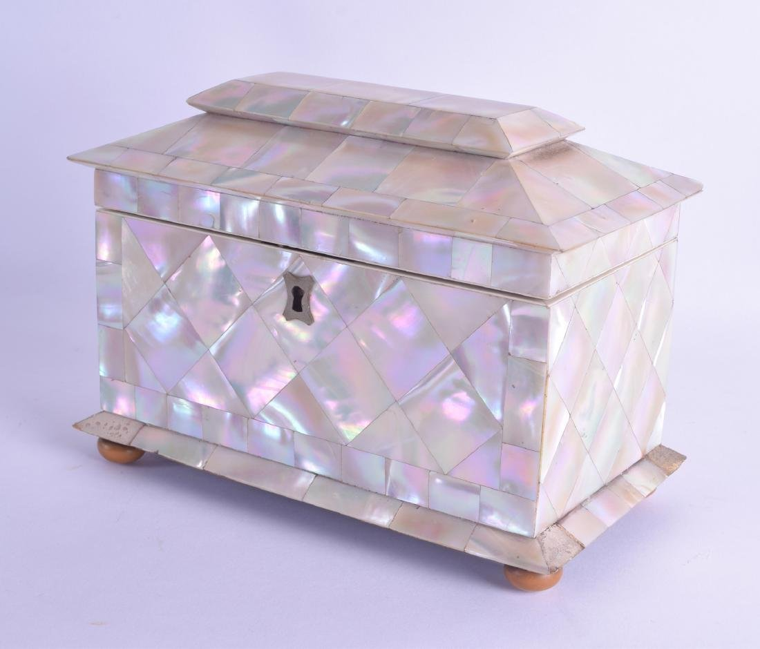 A GOOD EARLY VICTORIAN CARVED MOTHER OF PEARL TEA CADDY
