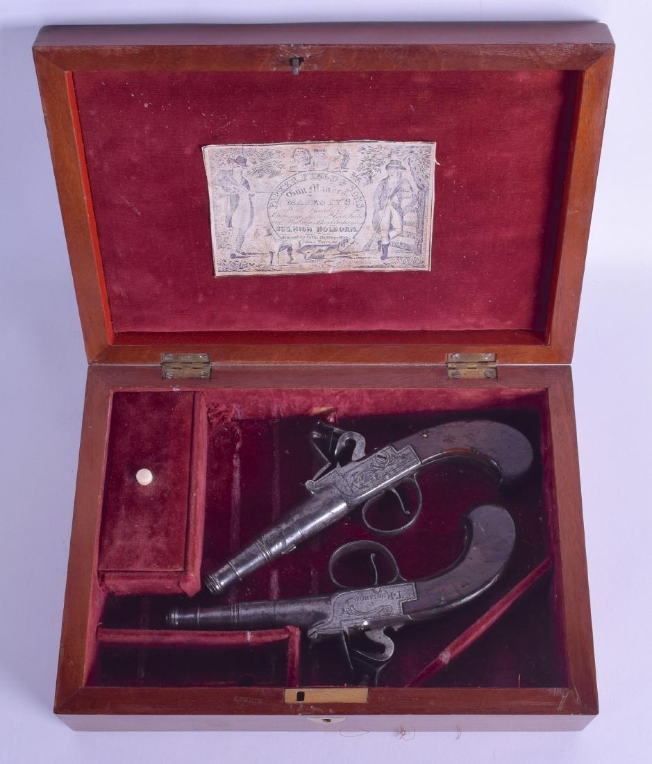 A CASED PAIR OF 18TH CENTURY FLINT LOCK PISTOLS by T