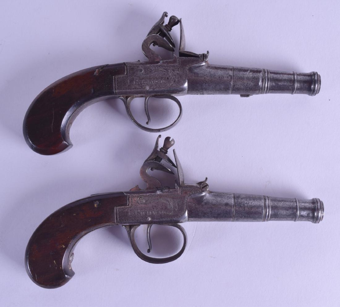 A CASED PAIR OF 18TH CENTURY FLINT LOCK PISTOLS by T - 2