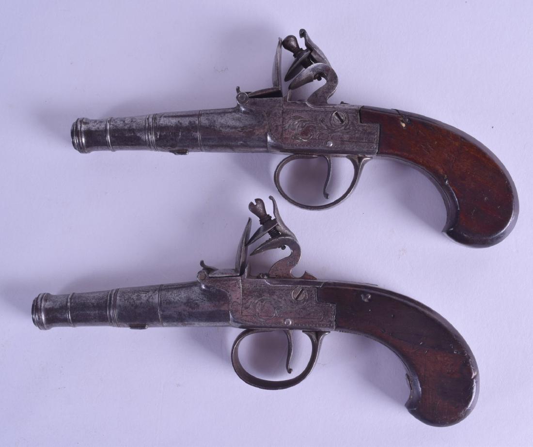 A CASED PAIR OF 18TH CENTURY FLINT LOCK PISTOLS by T - 3