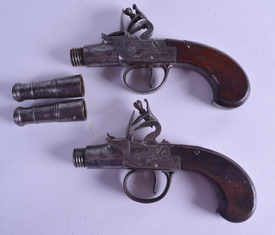 A CASED PAIR OF 18TH CENTURY FLINT LOCK PISTOLS by T - 4