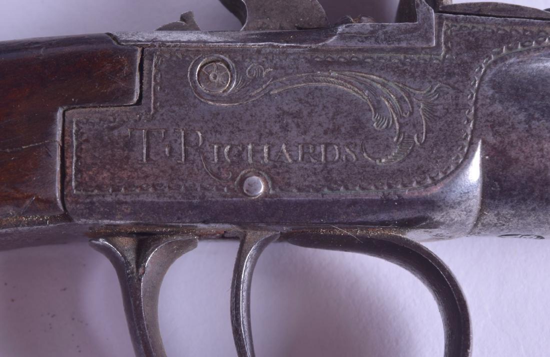 A CASED PAIR OF 18TH CENTURY FLINT LOCK PISTOLS by T - 6