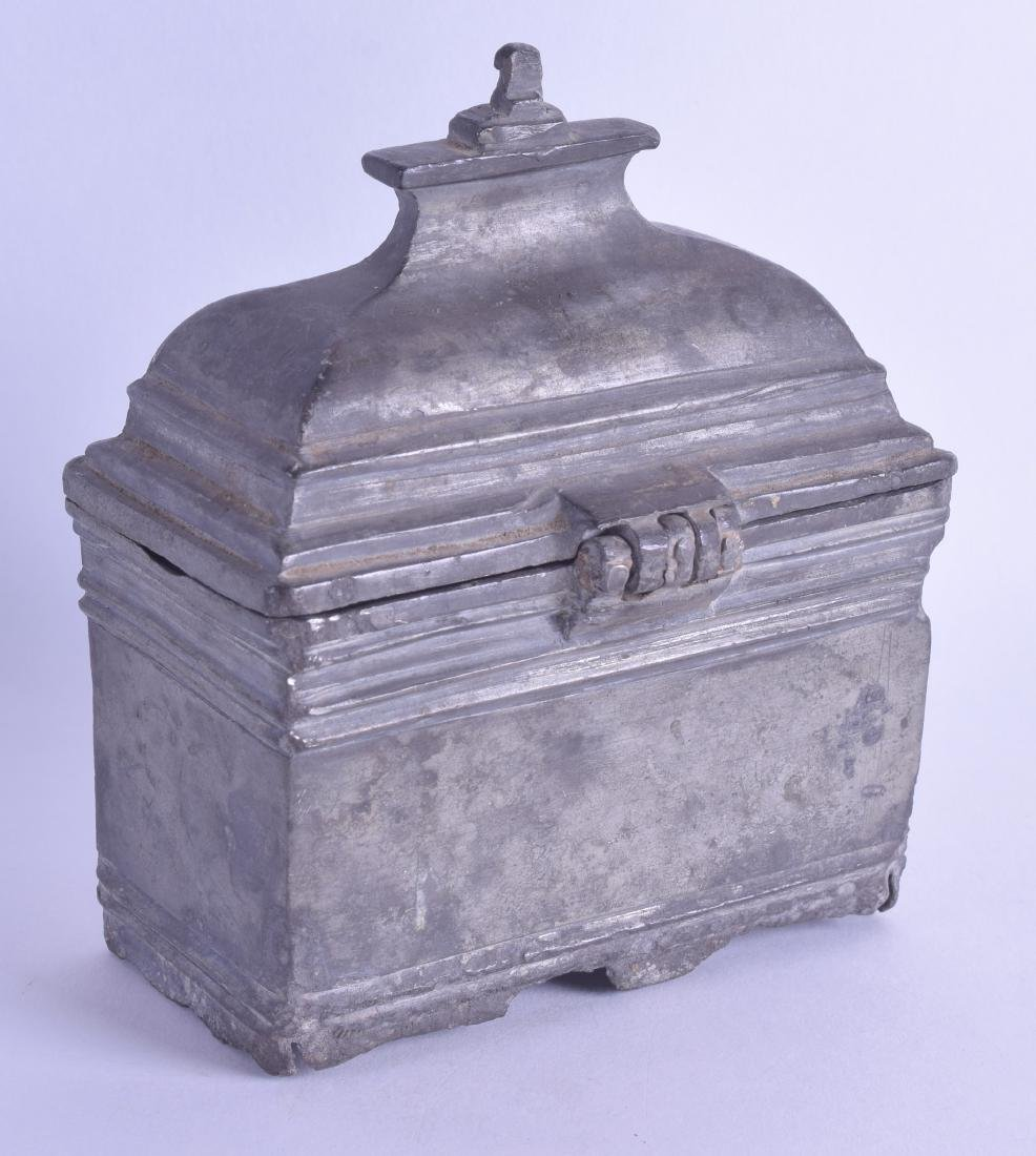 A 17TH/18TH CENTURY PEWTER BAPTISM HOLY WATER CASKET
