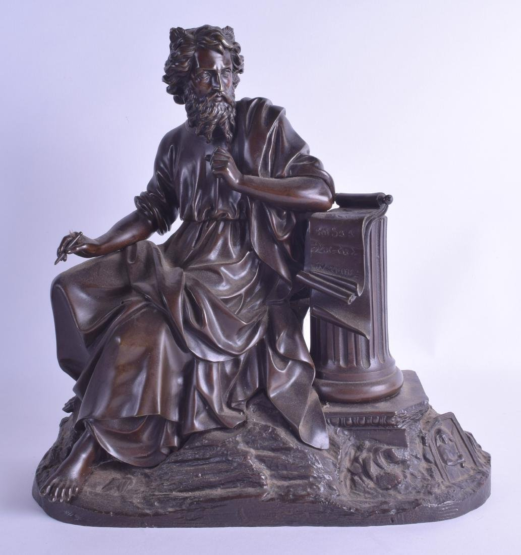A 19TH EUROPEAN BRONZE FIGURE OF SHAKESPEARE modelled