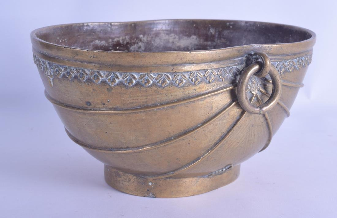 A 19TH CENTURY INDIAN BRONZE TWIN HANDLED BOWL possibly