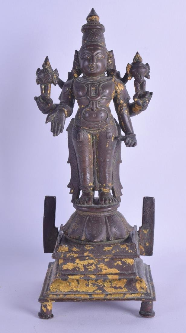 A GOOD EARLY INDIAN GOLD LEAF OVERLAID BRONZE FIGURE OF
