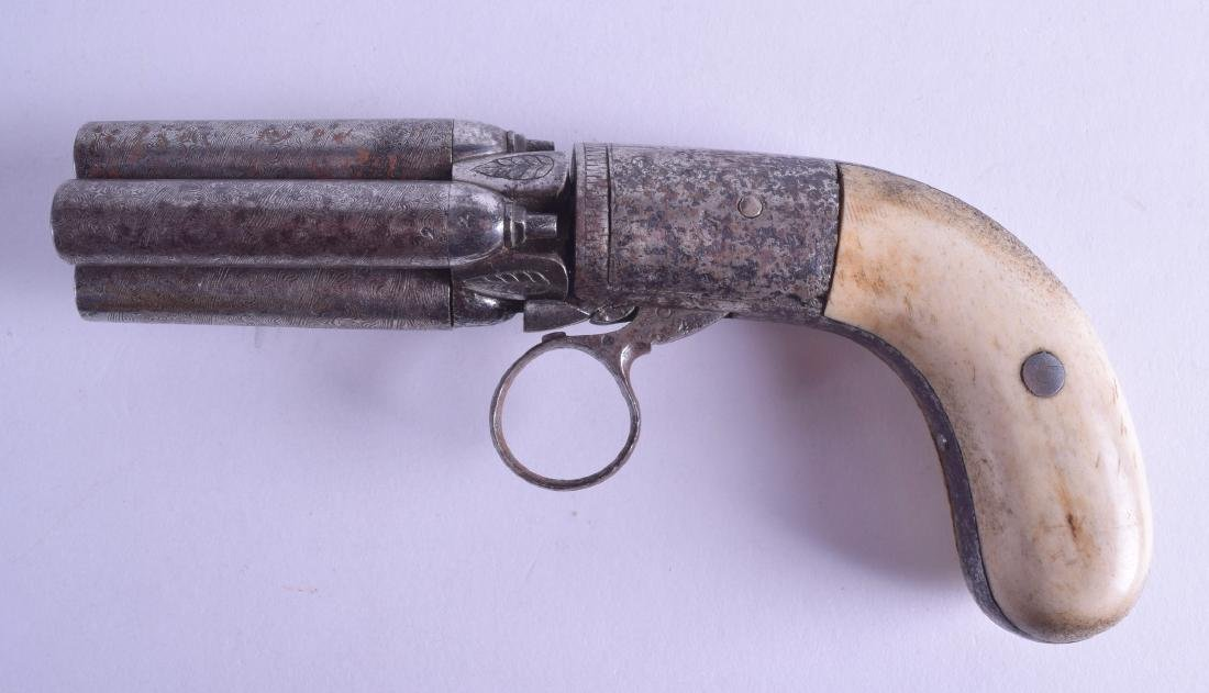 AN EARLY 19TH CENTURY PEPPER-BOX REVOLVER with carved