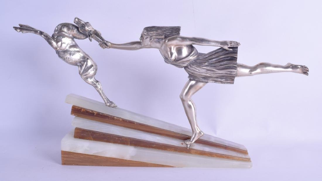 A LOVELY ART DECO SILVERED BRONZE FIGURAL GROUP by
