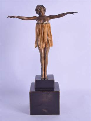 AN EXTREMELY RARE ART DECO AUTOMATON BRONZE FIGURE OF A