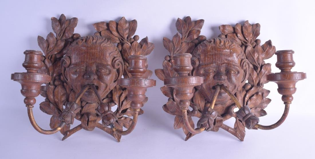 A PAIR OF ANTIQUE FRENCH CARVED WOODEN WALL BRACKET