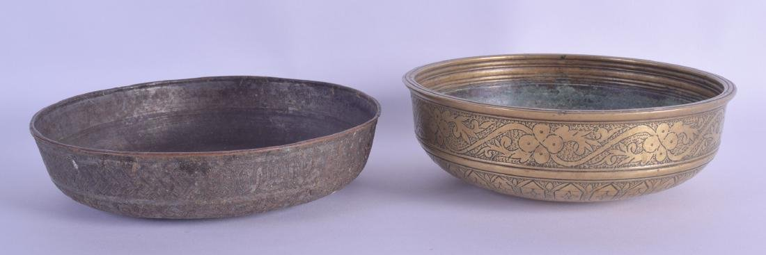 TWO 18TH/19TH CENTURY ISLAMIC MIDDLE EASTERN BRASS AND