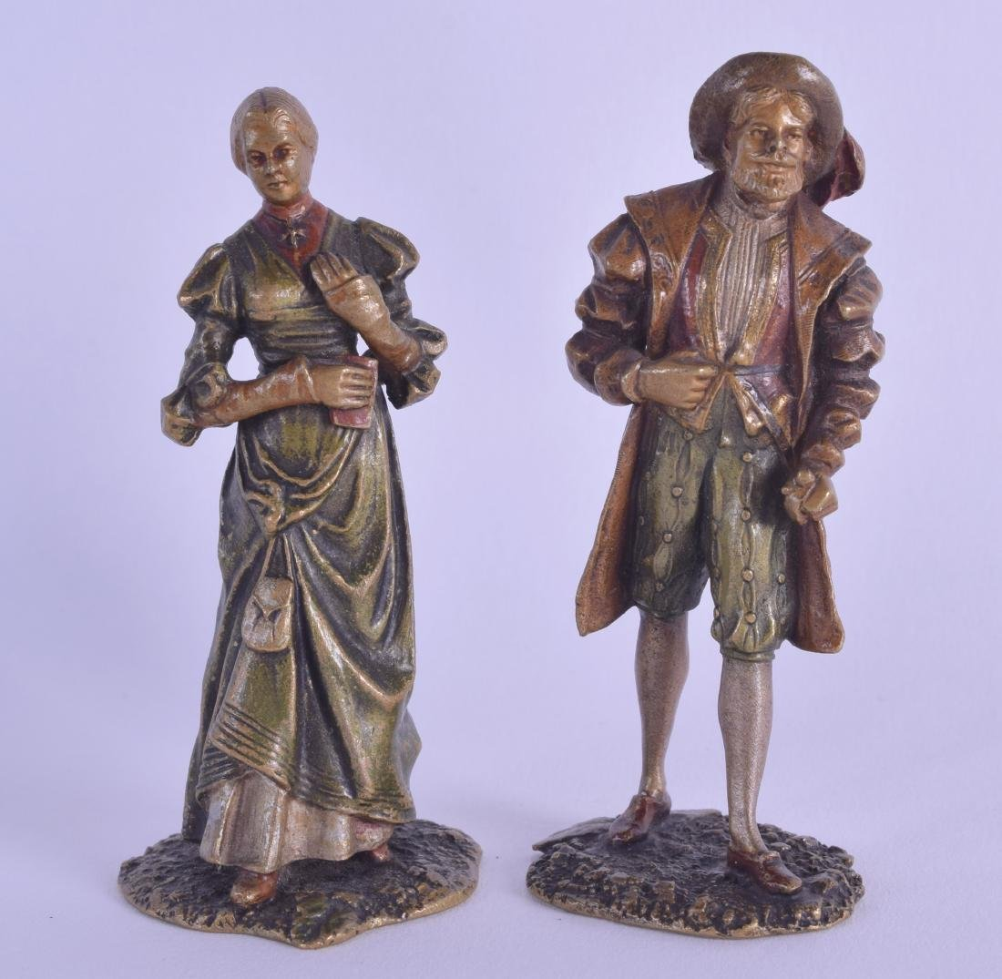 A RARE PAIR OF LATE 19TH CENTURY AUSTRIAN COLD PAINTED