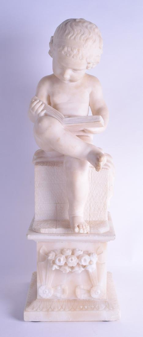 A LARGE 19TH CENTURY ITALIAN CARVED ALABASTER FIGURE OF