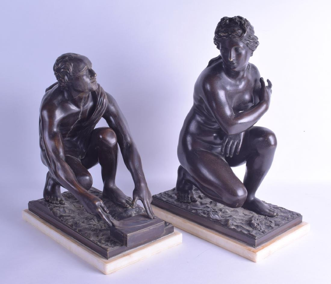 A FINE LARGE PAIR OF 19TH CENTURY EUROPEAN BRONZE